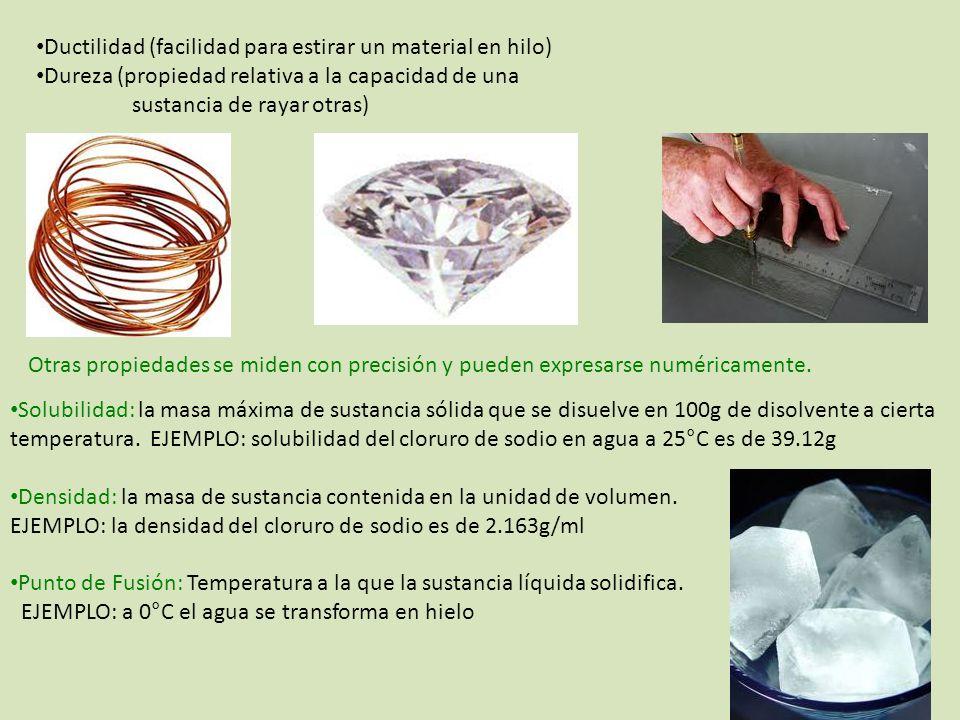 Ductilidad (facilidad para estirar un material en hilo)