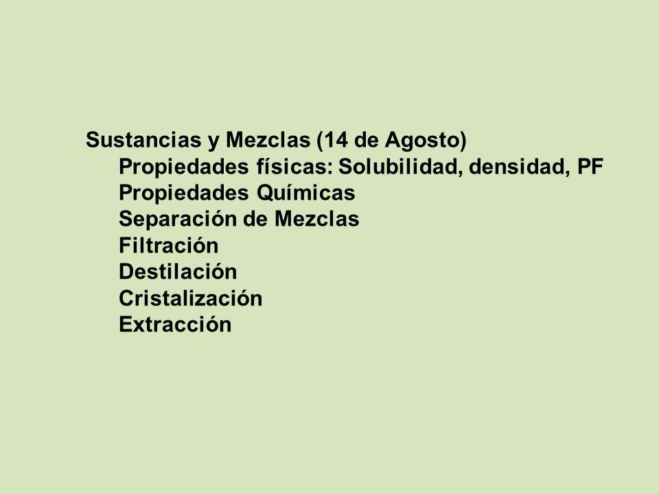Sustancias y Mezclas (14 de Agosto)