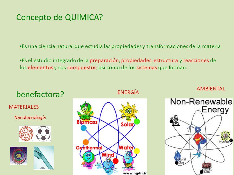 Concepto de QUIMICA benefactora