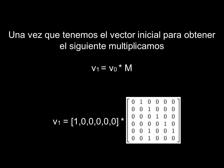 Una vez que tenemos el vector inicial para obtener el siguiente multiplicamos