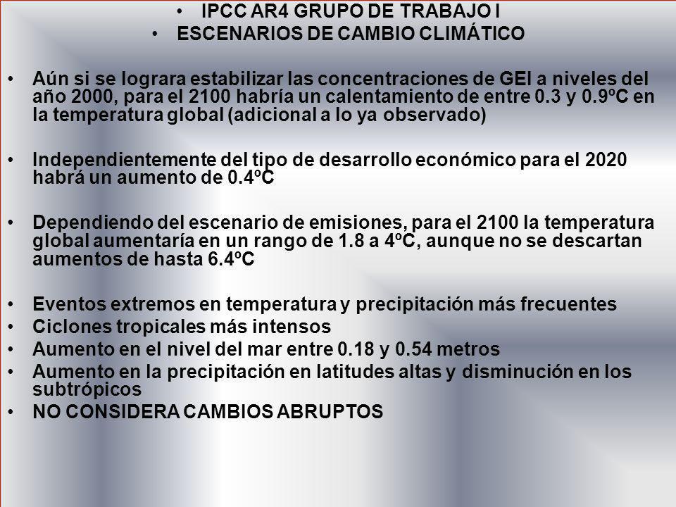IPCC AR4 GRUPO DE TRABAJO I ESCENARIOS DE CAMBIO CLIMÁTICO