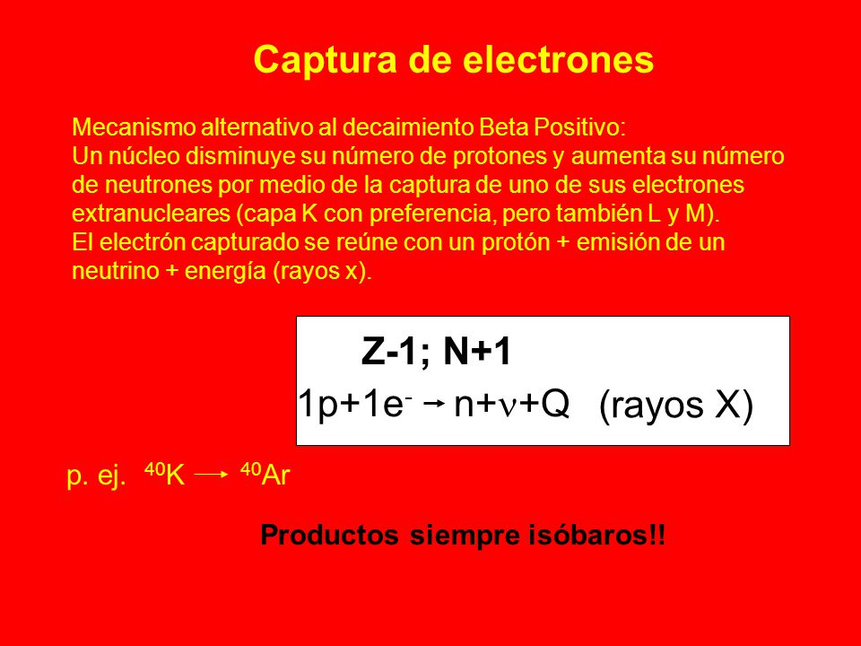 Captura de electrones Z-1; N+1 1p+1e- n+n+Q (rayos X) p. ej. 40K 40Ar