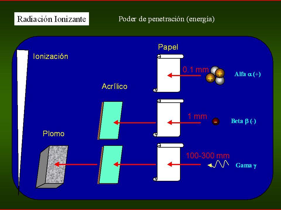 0.1 mm 1 mm 100-300 mm 137Cs
