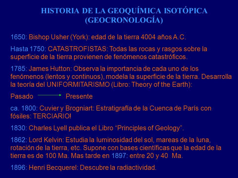 HISTORIA DE LA GEOQUÍMICA ISOTÓPICA (GEOCRONOLOGÍA)