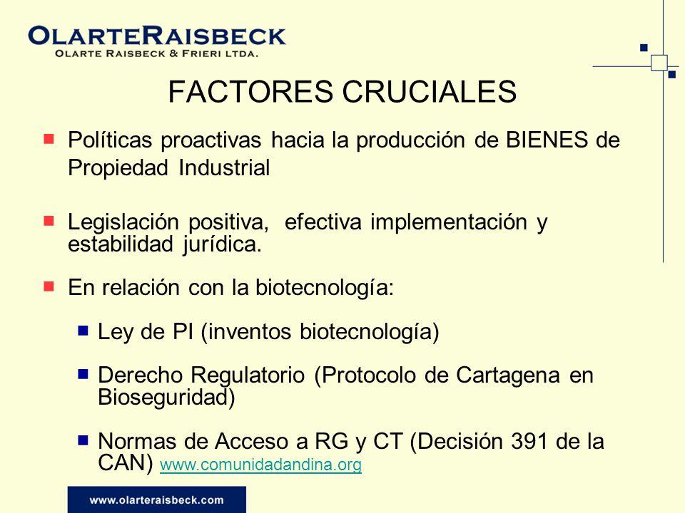 FACTORES CRUCIALES Políticas proactivas hacia la producción de BIENES de Propiedad Industrial.