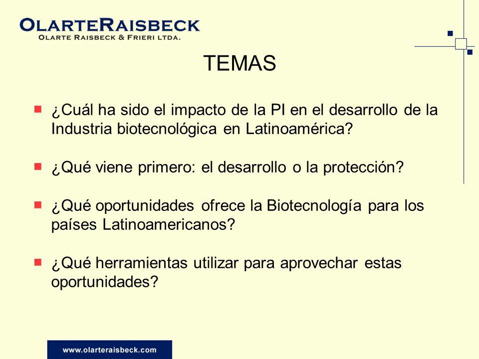 TEMAS ¿Cuál ha sido el impacto de la PI en el desarrollo de la Industria biotecnológica en Latinoamérica