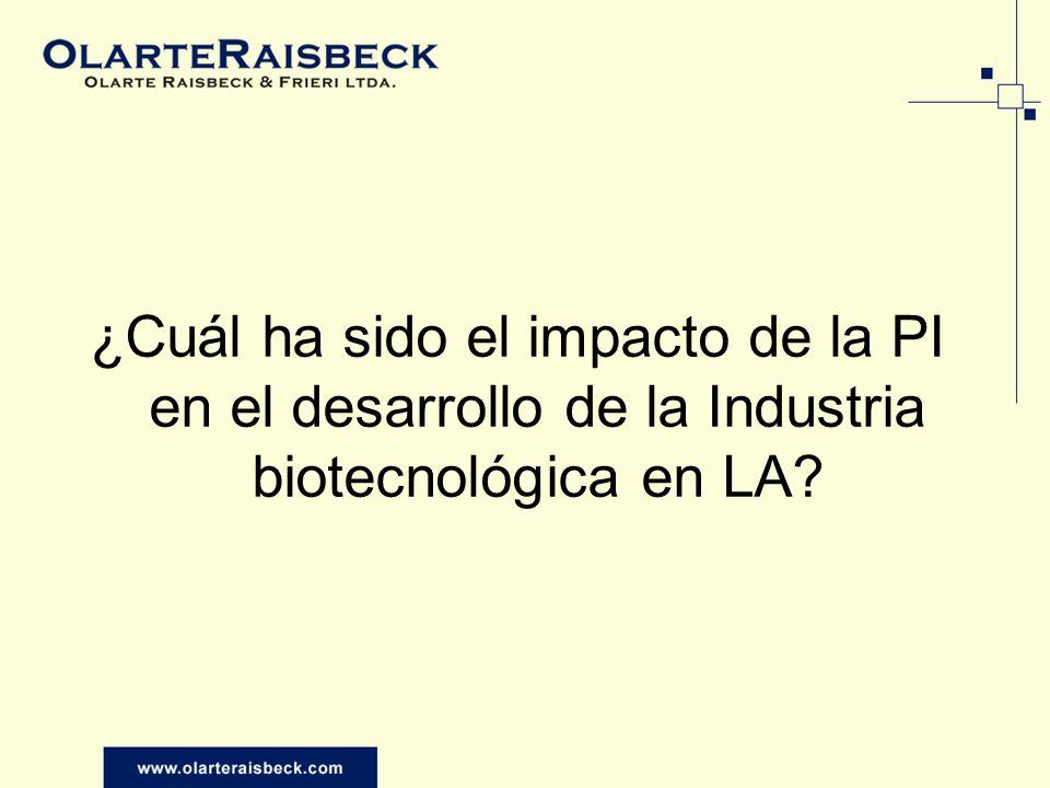 ¿Cuál ha sido el impacto de la PI en el desarrollo de la Industria biotecnológica en LA