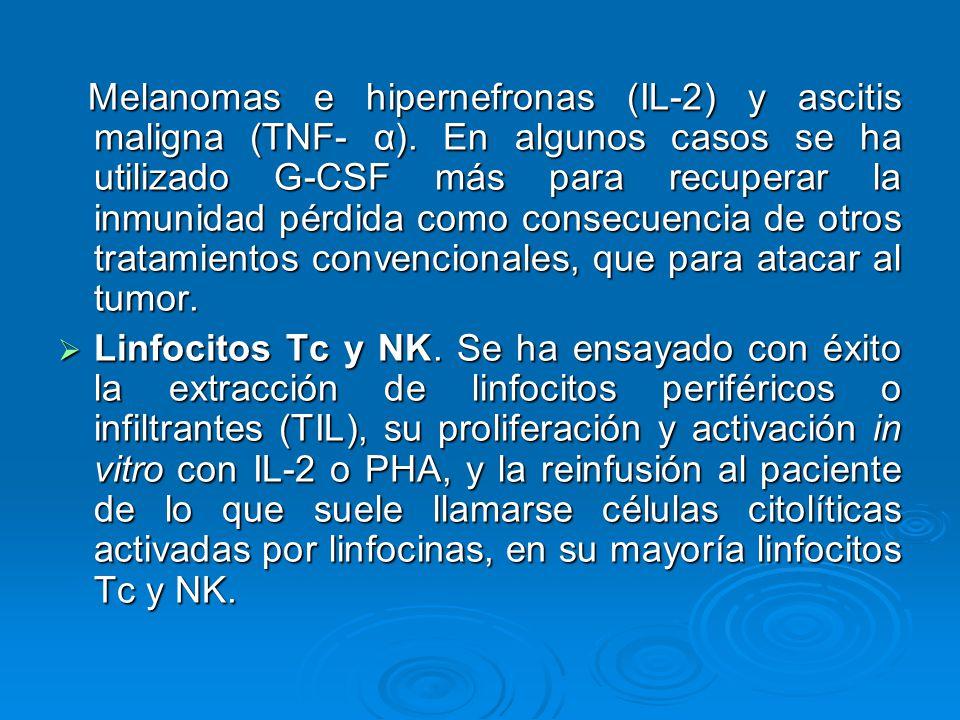 Melanomas e hipernefronas (IL-2) y ascitis maligna (TNF- α)
