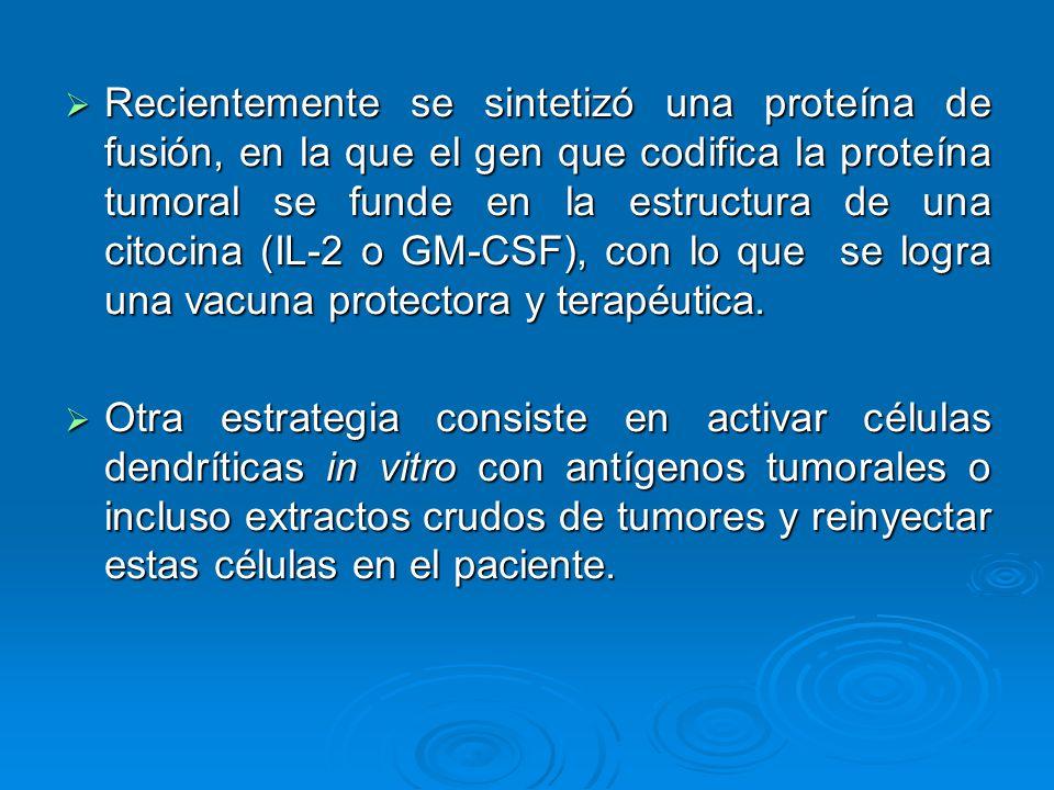 Recientemente se sintetizó una proteína de fusión, en la que el gen que codifica la proteína tumoral se funde en la estructura de una citocina (IL-2 o GM-CSF), con lo que se logra una vacuna protectora y terapéutica.