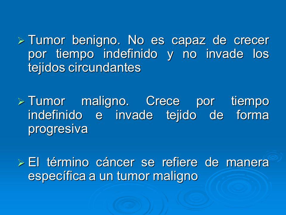 Tumor benigno. No es capaz de crecer por tiempo indefinido y no invade los tejidos circundantes