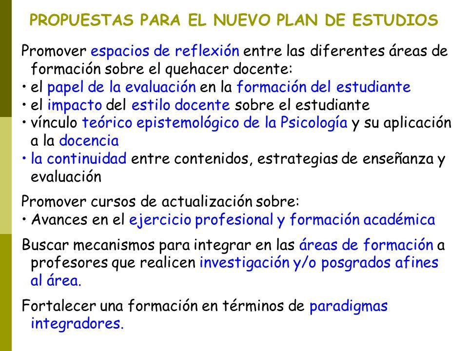 PROPUESTAS PARA EL NUEVO PLAN DE ESTUDIOS