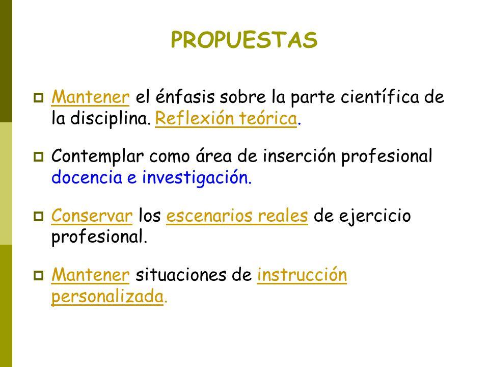 PROPUESTAS Mantener el énfasis sobre la parte científica de la disciplina. Reflexión teórica.