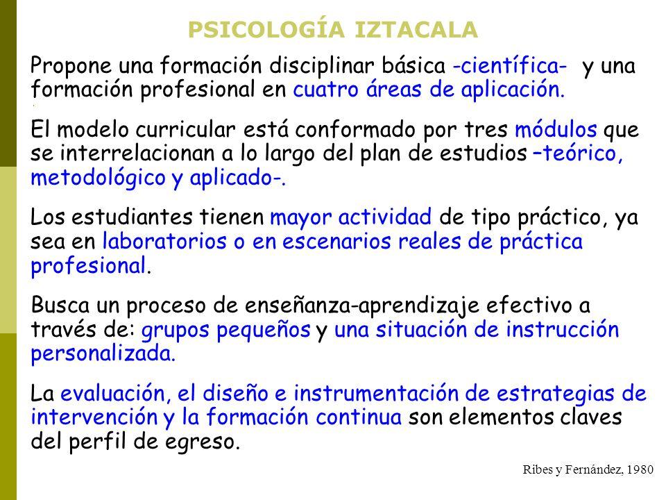 PSICOLOGÍA IZTACALA Propone una formación disciplinar básica -científica- y una formación profesional en cuatro áreas de aplicación.