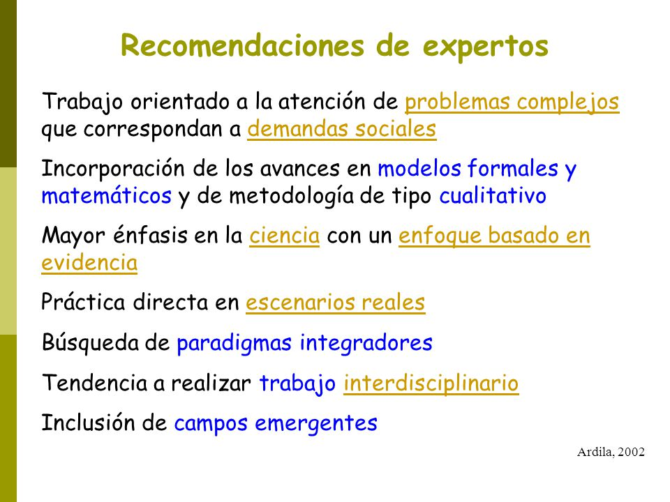 Recomendaciones de expertos