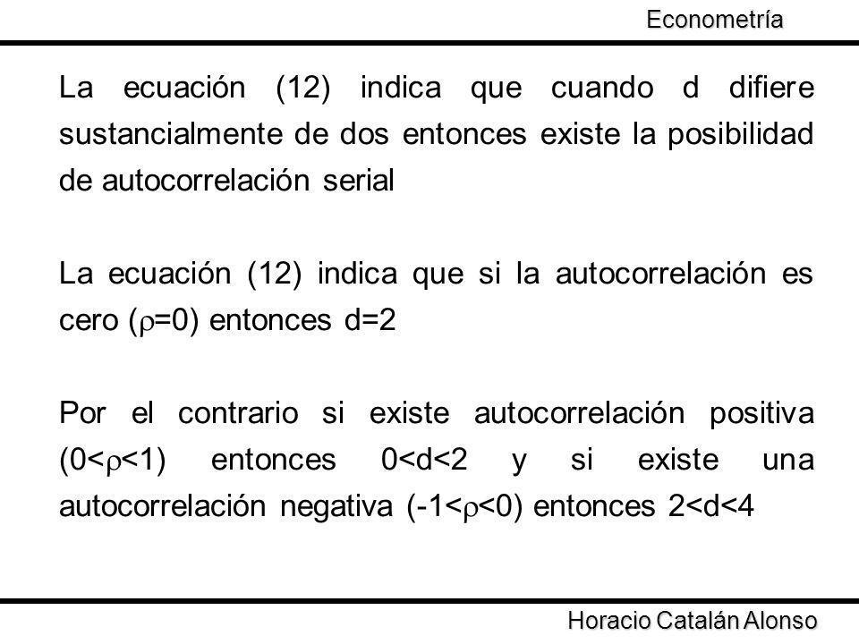 Econometría La ecuación (12) indica que cuando d difiere sustancialmente de dos entonces existe la posibilidad de autocorrelación serial.