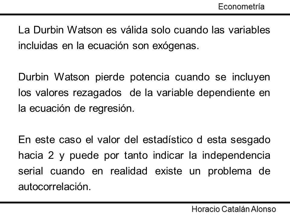 Econometría La Durbin Watson es válida solo cuando las variables incluidas en la ecuación son exógenas.