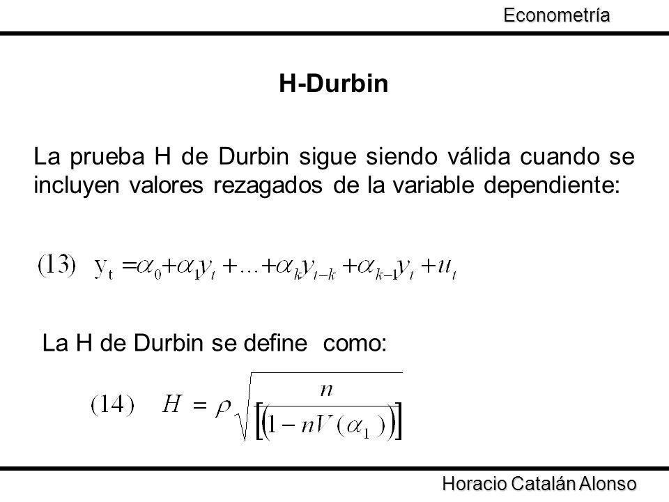 Econometría H-Durbin. La prueba H de Durbin sigue siendo válida cuando se incluyen valores rezagados de la variable dependiente: