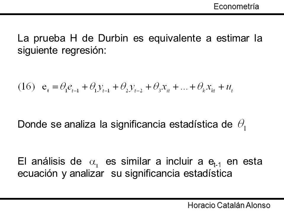 La prueba H de Durbin es equivalente a estimar la siguiente regresión: