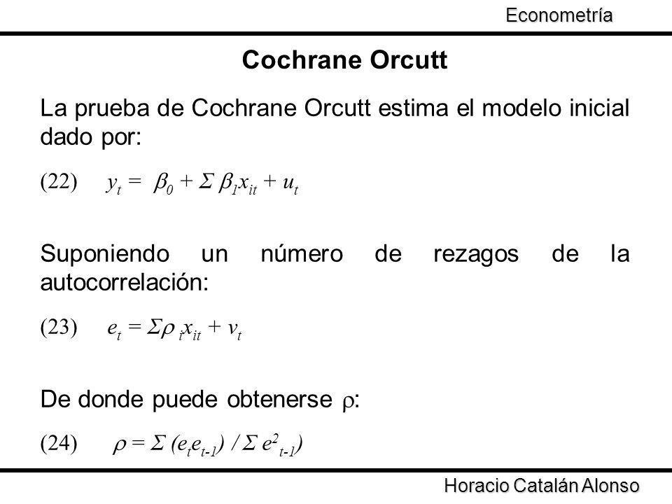 Econometría Cochrane Orcutt. La prueba de Cochrane Orcutt estima el modelo inicial dado por: (22) yt = 0 + Σ 1xit + ut.