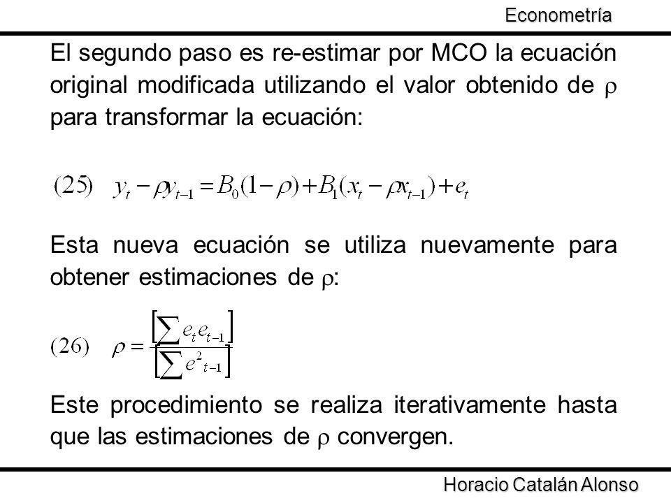 Econometría El segundo paso es re-estimar por MCO la ecuación original modificada utilizando el valor obtenido de  para transformar la ecuación: