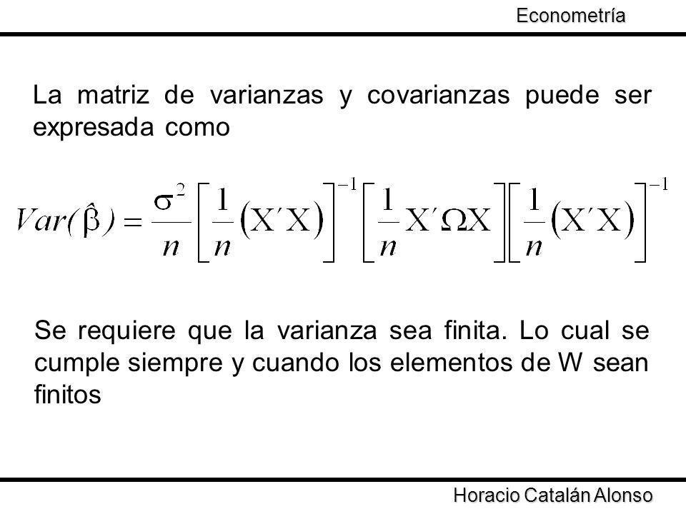 La matriz de varianzas y covarianzas puede ser expresada como