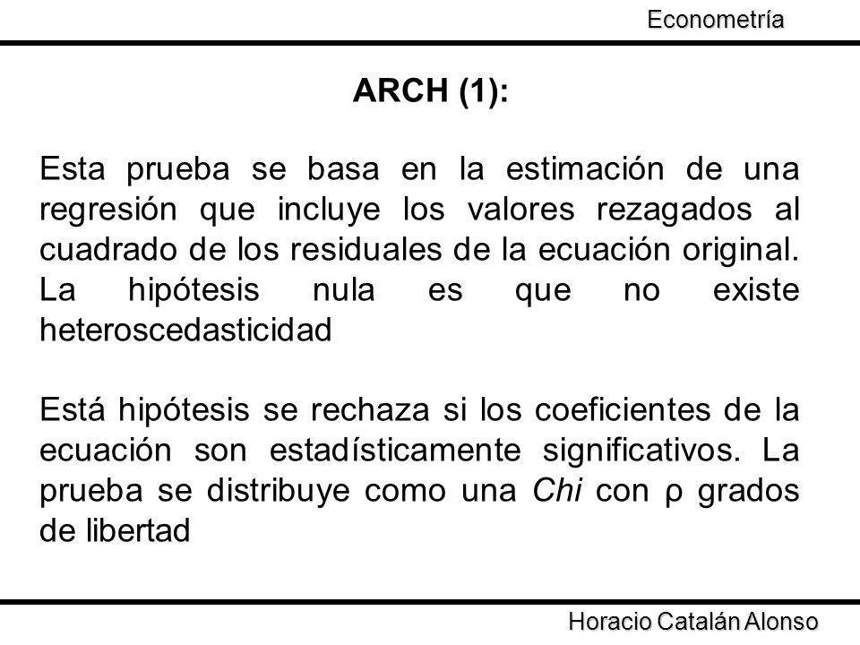 Econometría Taller de Econometría. ARCH (1):