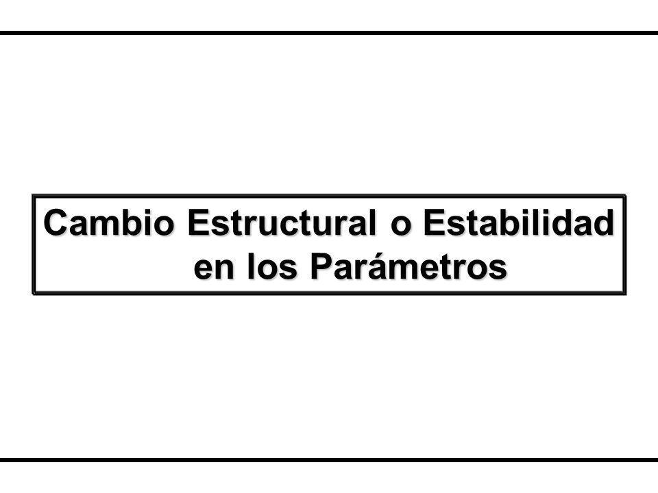 Cambio Estructural o Estabilidad en los Parámetros