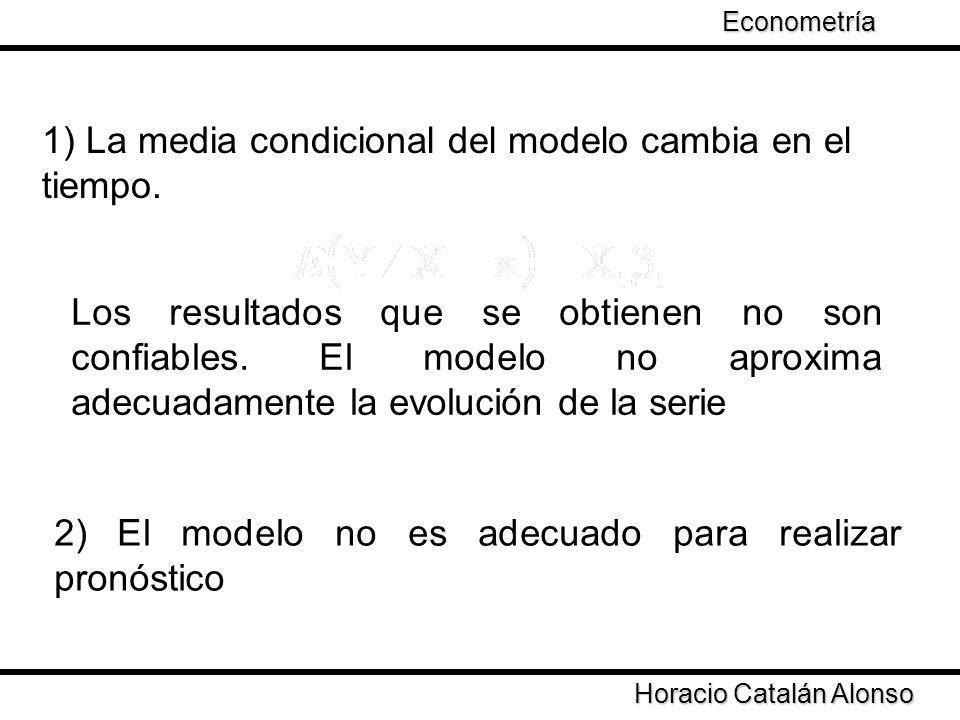 1) La media condicional del modelo cambia en el tiempo.