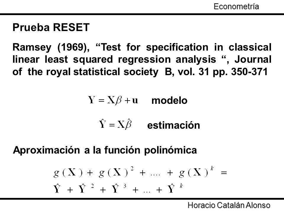 Econometría Taller de Econometría. Prueba RESET.