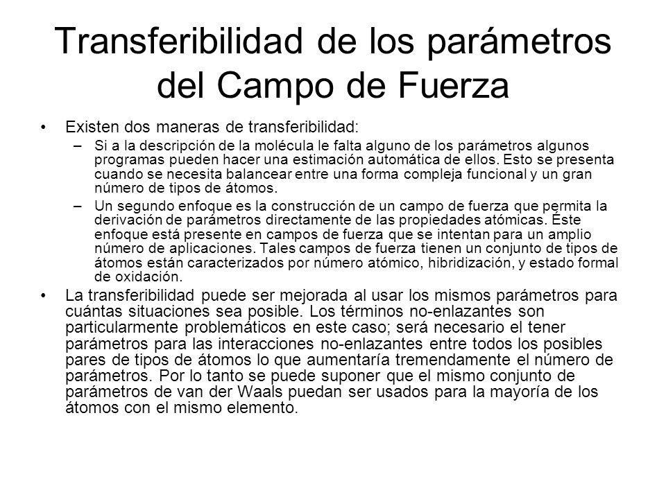 Transferibilidad de los parámetros del Campo de Fuerza
