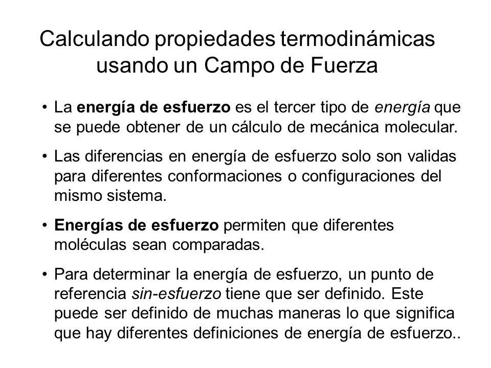 Calculando propiedades termodinámicas usando un Campo de Fuerza