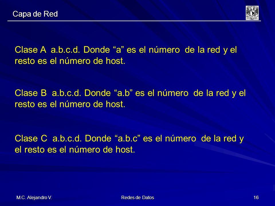 Capa de Red Clase A a.b.c.d. Donde a es el número de la red y el resto es el número de host.