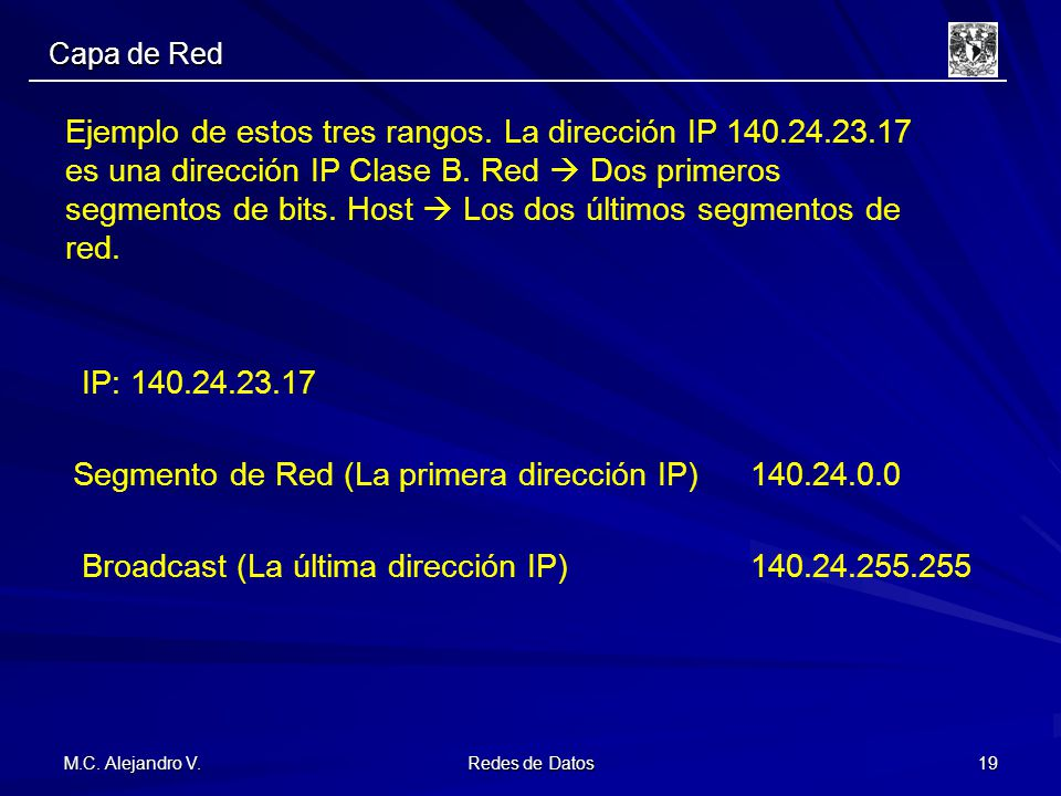 Segmento de Red (La primera dirección IP) 140.24.0.0
