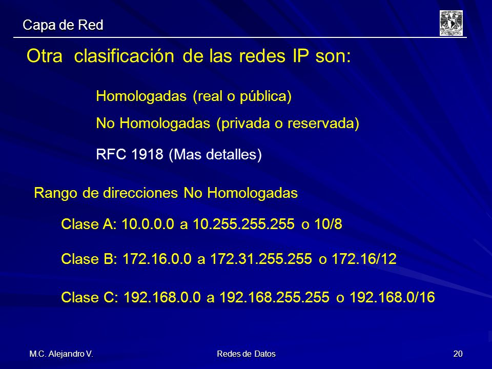 Otra clasificación de las redes IP son: