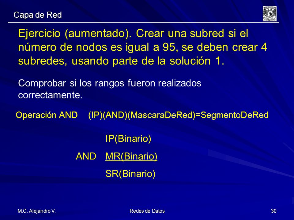 Capa de Red Ejercicio (aumentado). Crear una subred si el número de nodos es igual a 95, se deben crear 4 subredes, usando parte de la solución 1.