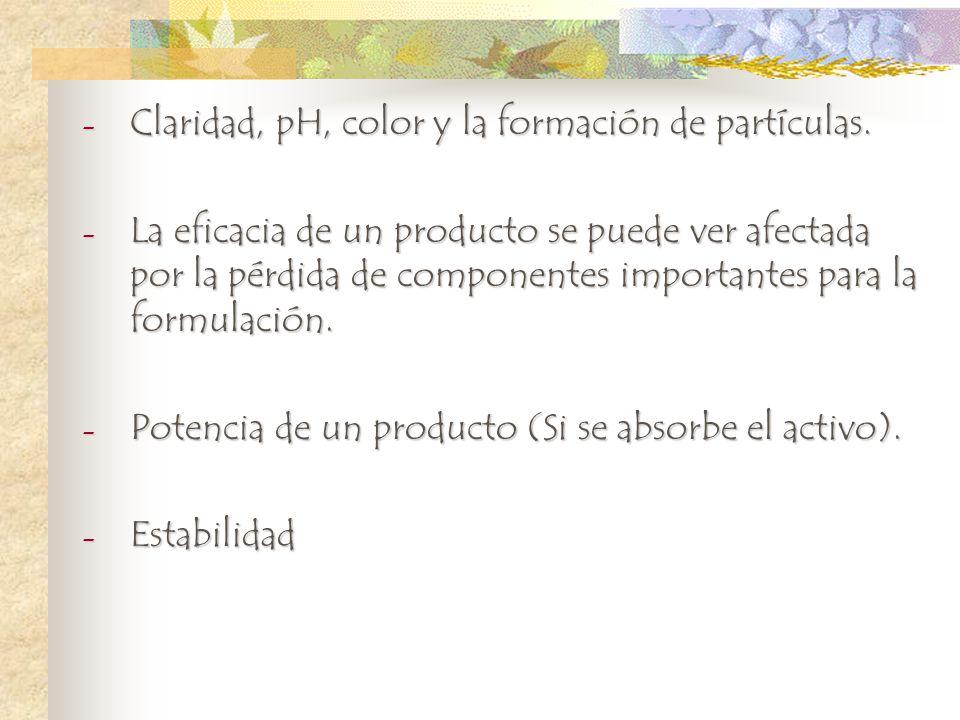 Claridad, pH, color y la formación de partículas.