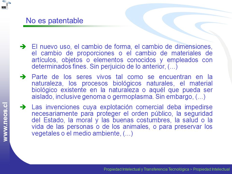 www.neos.cl No es patentable.