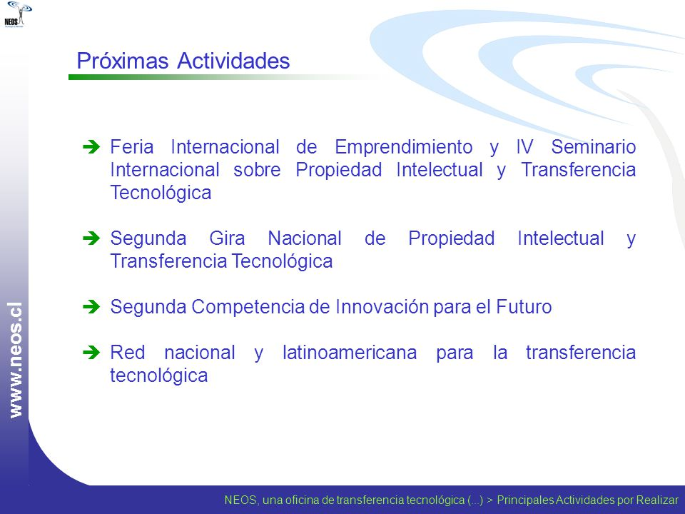 www.neos.cl Próximas Actividades.
