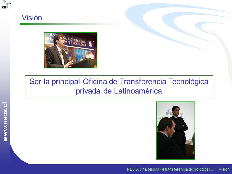 Visión www.neos.cl. Ser la principal Oficina de Transferencia Tecnológica privada de Latinoamérica.