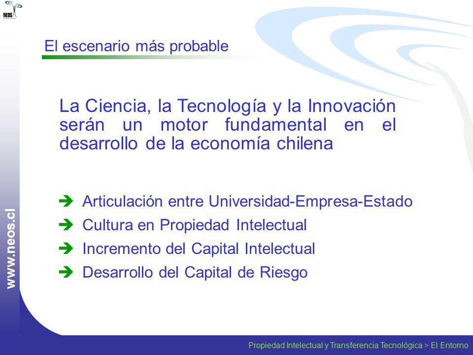 www.neos.cl El escenario más probable. La Ciencia, la Tecnología y la Innovación serán un motor fundamental en el desarrollo de la economía chilena.