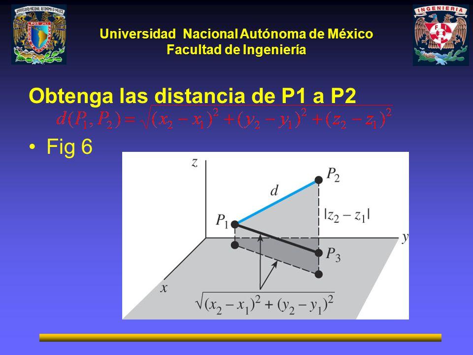 Obtenga las distancia de P1 a P2