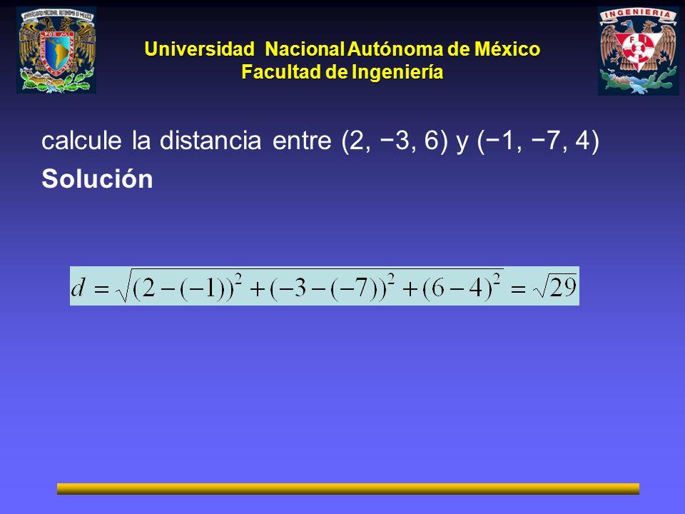 calcule la distancia entre (2, −3, 6) y (−1, −7, 4)