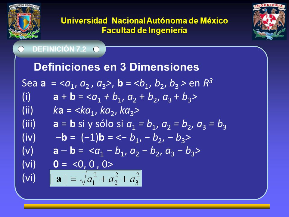 Definiciones en 3 Dimensiones