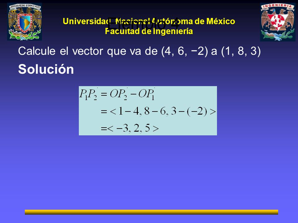Ejemplo 4 Calcule el vector que va de (4, 6, −2) a (1, 8, 3) Solución