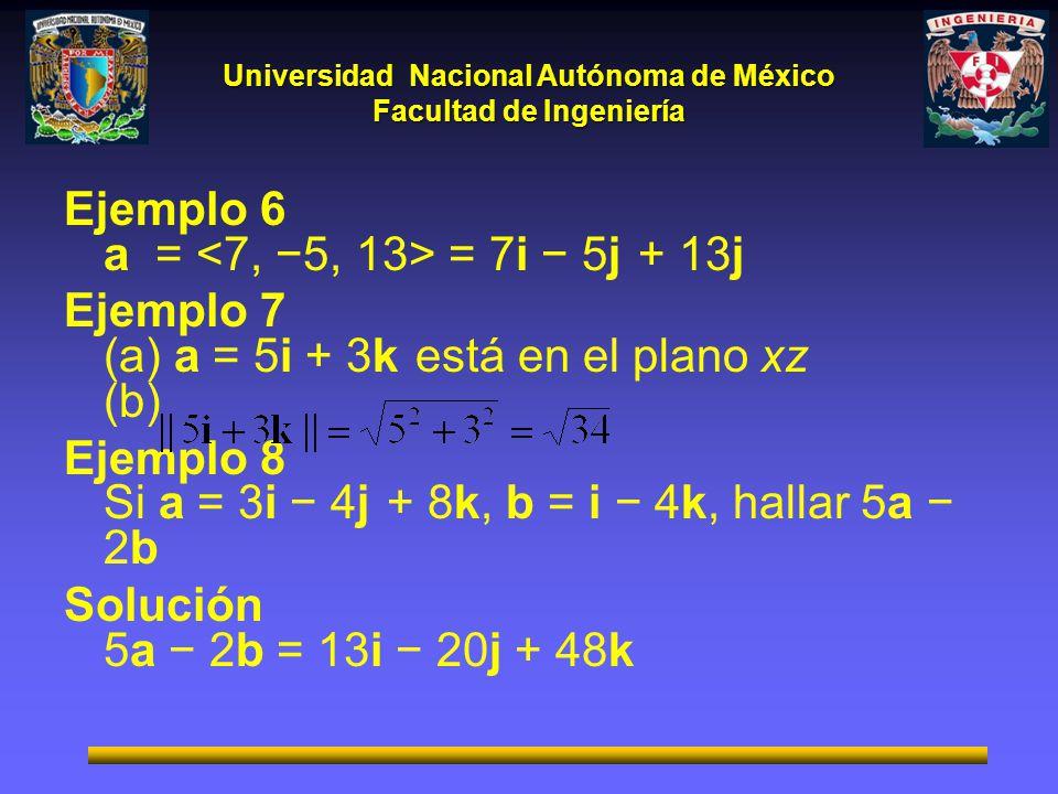 Ejemplo 6 a = <7, −5, 13> = 7i − 5j + 13j