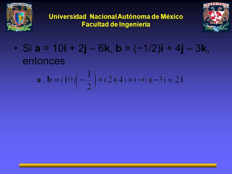 Si a = 10i + 2j – 6k, b = (−1/2)i + 4j – 3k, entonces