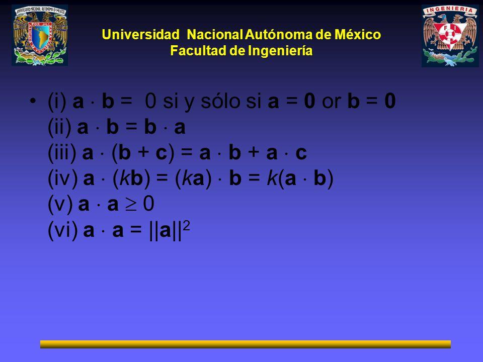 (i) a  b = 0 si y sólo si a = 0 or b = 0 (ii) a  b = b  a (iii) a  (b + c) = a  b + a  c (iv) a  (kb) = (ka)  b = k(a  b) (v) a  a  0 (vi) a  a = ||a||2