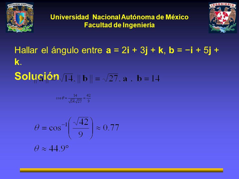 Hallar el ángulo entre a = 2i + 3j + k, b = −i + 5j + k.