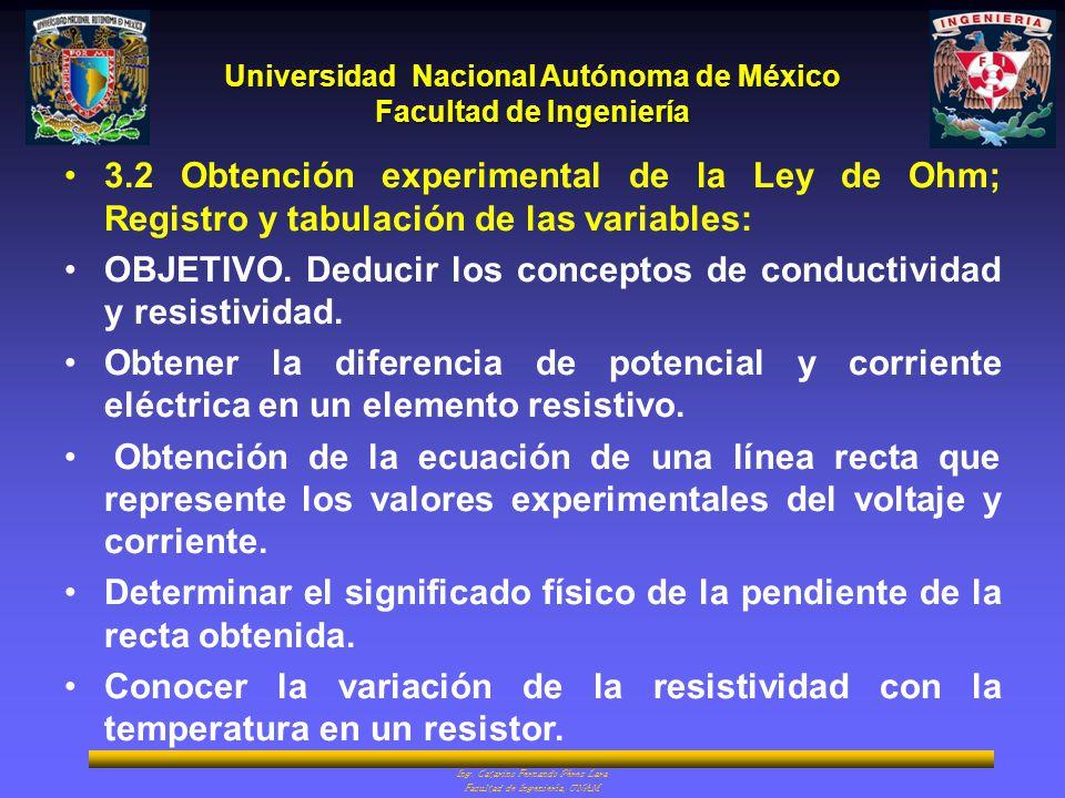 3.2 Obtención experimental de la Ley de Ohm; Registro y tabulación de las variables: