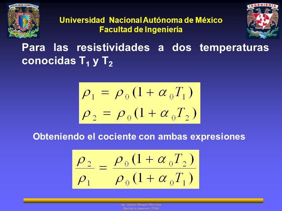 Para las resistividades a dos temperaturas conocidas T1 y T2